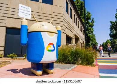 August 9, 2018 Mountain View / CA / USA - Google Cloud sign located at the entrance to one of their campuses located in Silicon Valley, south San Francisco bay area