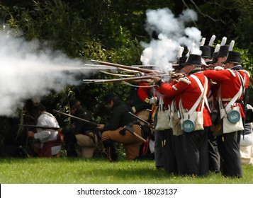 August 9/2008- Fort Erie, ON, Can.: British troops fire on the Americans during the 22nd Annual Siege of Fort Erie weekend, a War of 1812 reenactment.