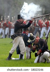 August 9/2008- Fort Erie, ON, Can.: American troops fire on the British during the 22nd Annual Siege of Fort Erie weekend, a War of 1812 reenactment.