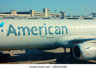 August 9th 2019. Philadelphia airport, terminal 3. Pennsylvania. Mid view of American Airlines Airbus 321 sitting in the concourse of the airport. American owns the largest fleet of this model.