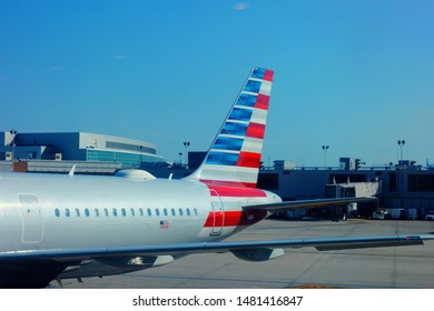 August 9th 2019. Philadelphia airport, terminal 3. Pennsylvania. Tail of American Airlines Airbus 321. American owns the largest fleet of this model.