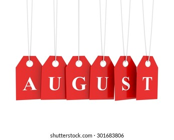 August ag on red hanging labels