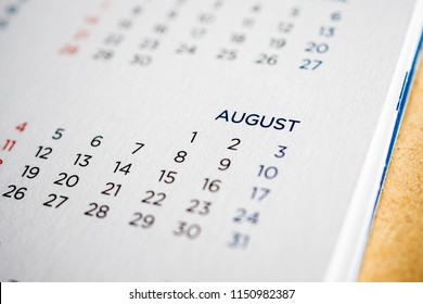 August calendar page with months and dates