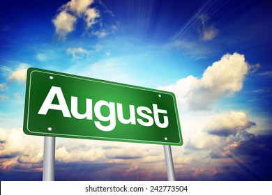 August Green Road Sign, Months of the Year concept