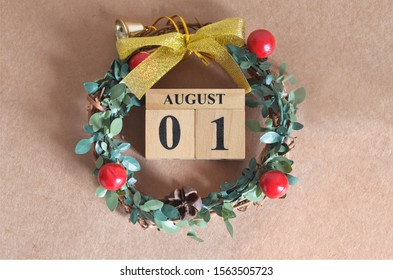 August Month, Christmas, Birthday with number cube design for background. Date 1.