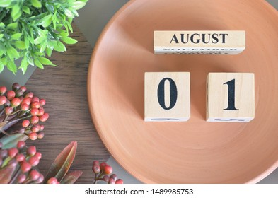 August month design with flower and earthenware, 1.