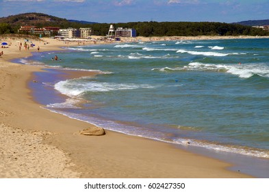 August Primorsko - Bulgaria. Beach curve. Seascape.