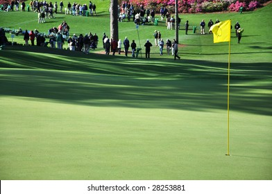 Augusta, Ga. - April 7: Flag on green at the 2009 Masters golf tournament.