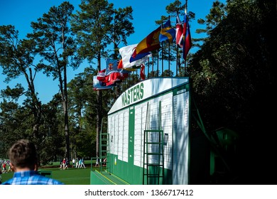 Augusta, Georgia / USA  April 4 2017:  Augusta National Golf Club leader-board one day prior to the 2017 Masters tournament