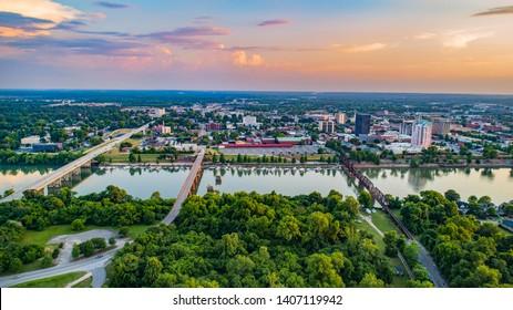 Augusta, Georgia, USA Downtown Skyline Aerial along the Savannah River.