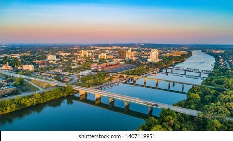 Augusta, Georgia, USA Downtown Skyline Aerial.