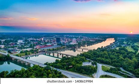Augusta, Georgia, USA Skyline Aerial and Savannah River.