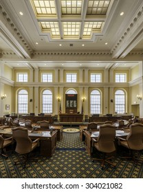 AUGUSTA, MAINE - JULY 29: Rotunda and Governors portraits in the Maine State House on JULY 29, 2015 in Augusta, Maine