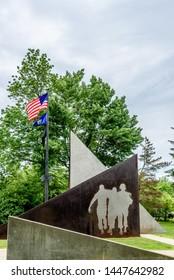 AUGUSTA, MAINE - June 24, 2019: Vietnam War Memorial in Augusta Maine Outside the Capitol Building