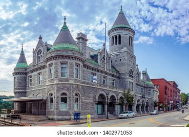 Augusta, Maine, USA - August 15, 2017 : The old Federal Post Office and Court House located on 295 Water Street in the downtown district of Augusta. Built in 1886-1890. Example of Romanesque Revival.