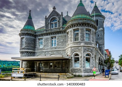 Augusta, Maine, USA - August 15, 2017 : The old Federal Post Office and Court House located on 295 Water Street in the downtown district of Augusta, Maine, USA. Built in 1886-1890.