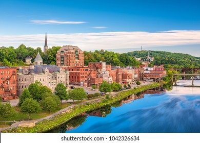 Augusta, Maine, USA skyline on the river.