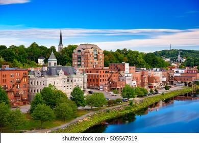 Augusta, Maine, USA skyline on the river.