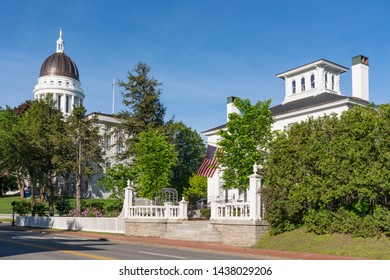 Augusta, ME - June 9, 2019: Historic Blaine House Governor's Mansion and Capitol Building in Augusta, Maine