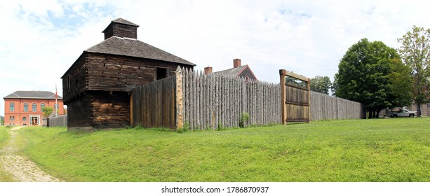 Augusta, ME, USA - July 26, 2020: Old landmark Fort Western, former British colonial outpost at the head of navigation on the Kennebec River, built in 1754 during the French and Indian War