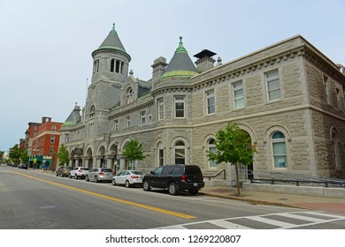 AUGUSTA, ME, USA - Jun 7, 2015: Old Post Office and Court House is a historic former federal government building with Romanesque Revival style on Water Street in downtown Augusta, Maine, USA.