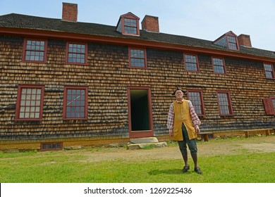 AUGUSTA, ME, USA - Jun 7, 2015: Historical Patriot Reenactor in Fort Western is a former British colonial outpost on the Kennebec River in Augusta, Maine, USA.