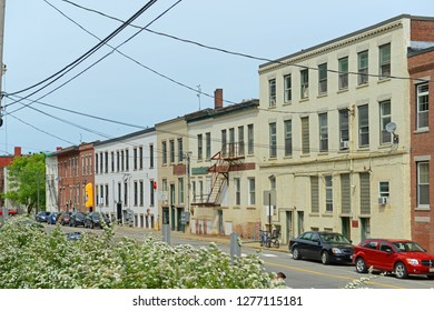 AUGUSTA, ME, USA - Jun 7, 2015: Historic Buildings on Commercial Street in downtown Augusta, Maine, USA.