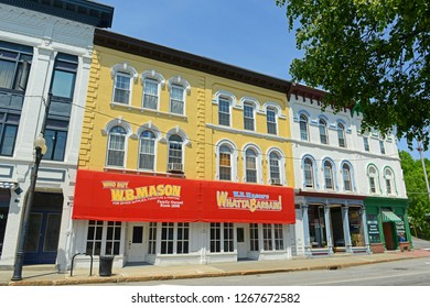 AUGUSTA, ME, USA - June 07, 2015: Historic Buildings on Water Street in downtown Augusta, Maine, USA.