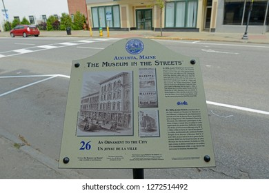 AUGUSTA, ME, USA - June 07, 2015: The Museum in the Streets Sign introduce the historic landmarks in Augusta on Water Street in downtown Augusta, Maine, USA.