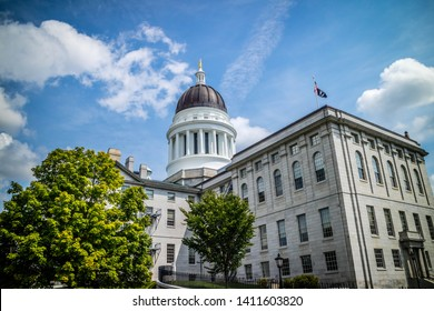 Augusta State Capital, ME, USA - August 8, 2018: The outside grounds of Augusta State Capital