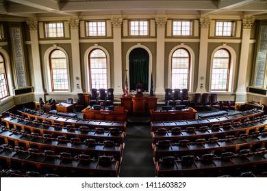 Augusta State Capital, ME, USA - August 8, 2018: The Maine State Legislature Hall