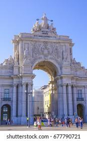 The Augusta Street Arch at Comercio Square in Lisbon - LISBON / PORTUGAL - JUNE 16, 2017
