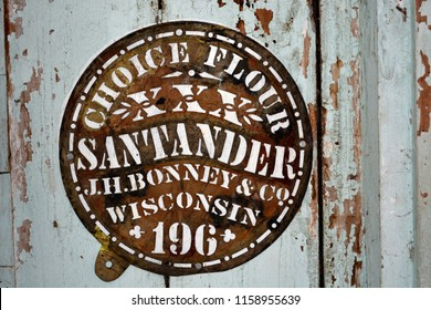Augusta, Wisconsin / USA - October 10, 2013: An antique Choice Flour stencil Santander by J. H. Bonney & Company Wisconsin was used for marking flour sacks.