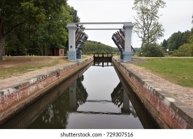 The Augustow Canal, a navigable canal connecting the Vistula and Neman rivers, a monument of hydraulic engineering, is located in a specially protected UNESCO zone in Belarus. River dam and reservoir.