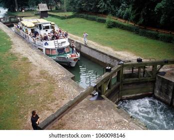 Augustow Canal, Poland - July, 2010: Gateways sluice (locks) in Przewiez