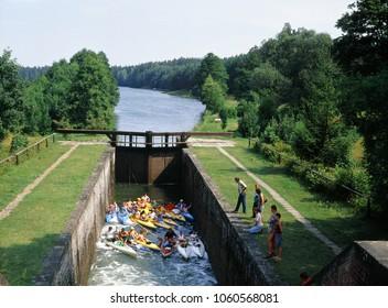 Augustow Canal, Poland - July, 2010: Gateways sluice (locks) in Paniewo