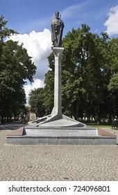 AUGUSTOW. POLAND. 23 JUIY 2014 : Column of Sigismund II Augustus in Augustow. Poland