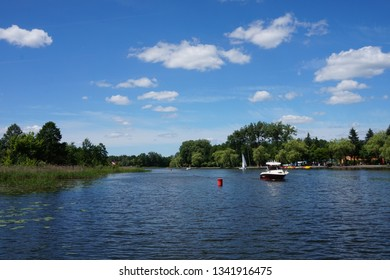 Augustow, Poland - 5 June 2016: Historic Augustow canal connecting the lake Necko with lake Sajno. First summit level canal in Central Europe.
