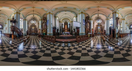 AUGUSTOW, POLAND - JULY 2019: full seamless spherical hdri panorama 360 degrees angle view in interior gothic catholic basilica of saints jesus heart in equirectangular projection, AR VR content