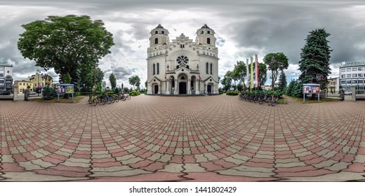 AUGUSTOW, POLAND - JULY 2019: full seamless spherical hdri panorama 360 degrees angle view near gothic catholic basilica of saints jesus heart in equirectangular projection, AR VR content