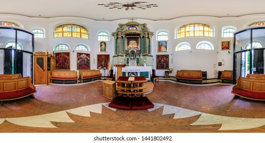 AUGUSTOW, POLAND - JULY 2019: full seamless spherical hdri panorama 360 degrees angle inside of interior of gothic catholic chapel of appropriated maria in equirectangular projection, AR VR content