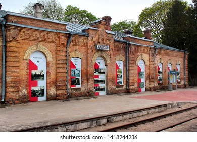 Augustow, Poland - May 2, 2019: Historical building of railway station in Augustow, a popular resort town in Northeast Poland.