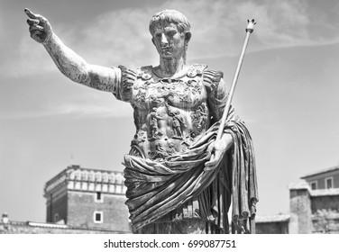 Augustus, the Roman emperor. Black and white photo.