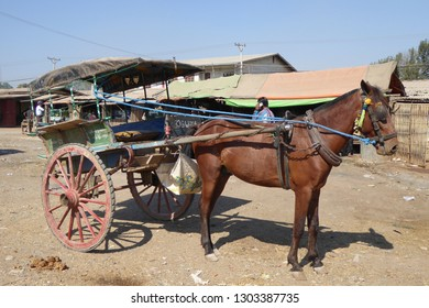 AUNG BAN, BURMA - FEB 28, 2015 - Horse cart at weekly wholesale market in  Aung Ban,  Myanmar (Burma)