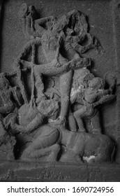 Aurangabad, India: 03/01/2020: beautiful Hindu deities mural in ellora caves, situated near Aurangabad city.