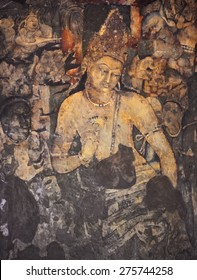 AURANGABAD, INDIA - AUGUST 18, 2011: Mural Painting of Padmapani in Ajanta Cave 1, India.