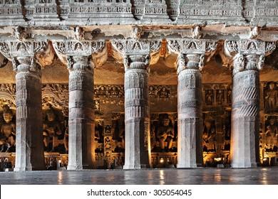 AURANGABAD, INDIA - FEBRUARY 19, 2014: Ajanta caves near Aurangabad, Maharashtra state in India.