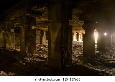 AURANGABAD, MAHARASHTRA, INDIA - JUNE 2, 2014: Inside of Ellora caves. Interior of Indra Sabha temple at Ellora Caves. UNESCO archaeological site in India