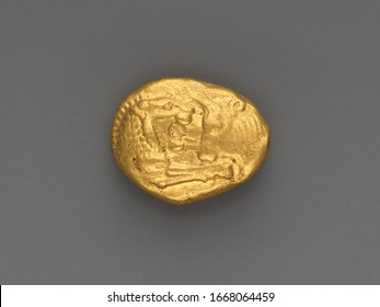Aureus (Coin), Lydian Gold stater, Of Kroesus foreparts of lion and bull confronting