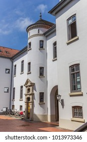 AURICH, GERMANY - JULY 18, 2017: White tower of the castle in Aurich, Germany